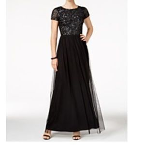 💗Adrianna Papell Black Sequined Gown💗